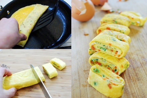 Đổi món cho trẻ với trứng cuộn rau củ