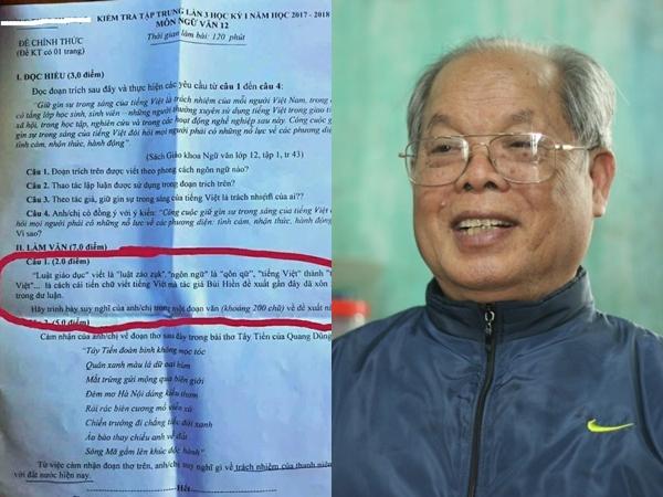 Đề xuất cải tiến tiếng Việt được đưa vào đề thi Ngữ văn lớp 12, PGS.TS Bùi Hiền bất ngờ lên tiếng