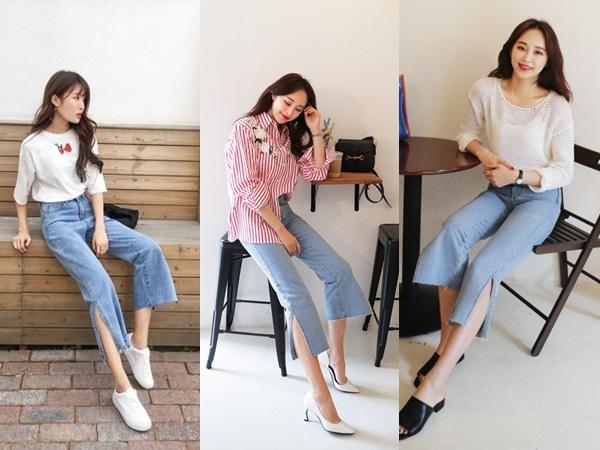 Quần jeans ống xẻ bên không phải là bị lỗi đâu mà chính là hot trend năm nay đấy!