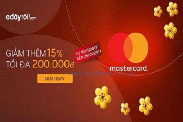 Từ ngày 16 - 25/01/2017 Adayroi khuyến mãi giảm ngay 15% khi thanh toán bằng thẻ MasterCard - Ảnh 1