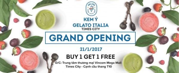 Từ ngày 16 - 21/01/2017 Gelato Italia khuyến mãi mua 1 tặng 1 - Ảnh 1