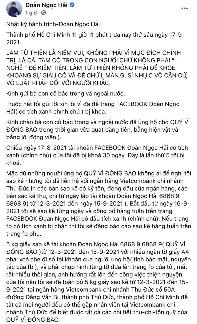Miệt mài làm từ thiện, ông Đoàn Ngọc Hải vẫn 'tự giác' tung 26 trang sao kê, tiết lộ 'căng mắt, lật từng tờ để chụp đưa lên Facebook' - Ảnh 5