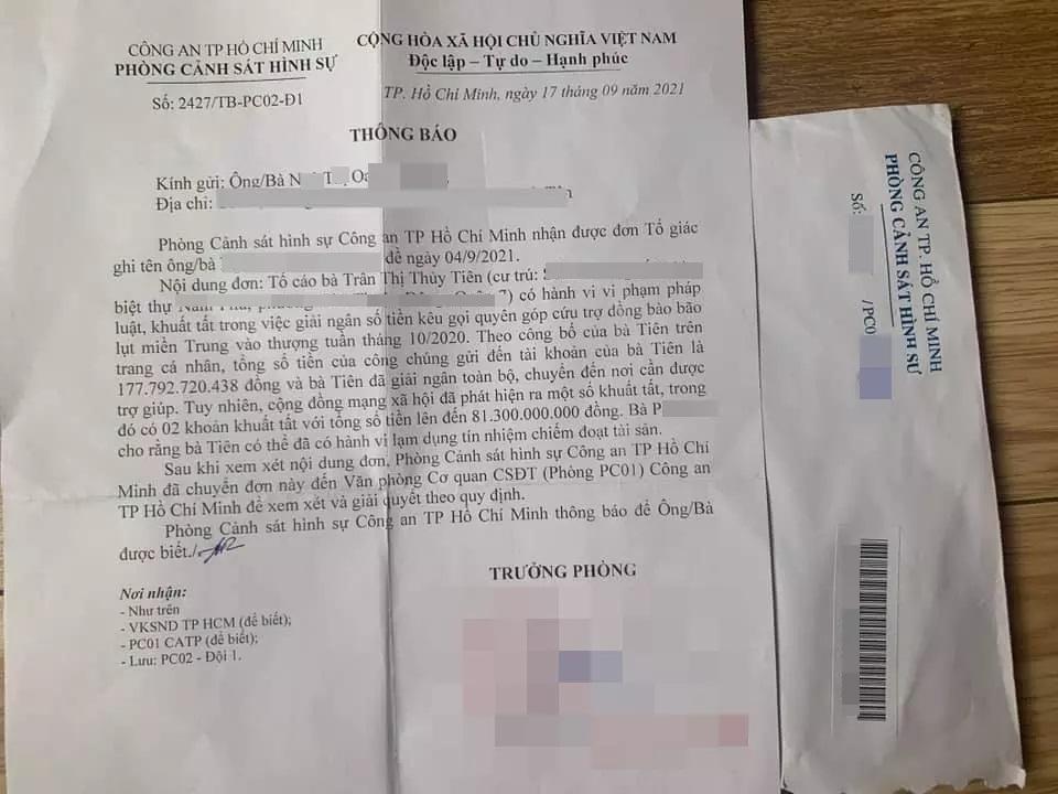 Xuất hiện thông tin đơn tố cáo ca sĩ Thủy Tiên về chuyện từ thiện được PC02 tiếp nhận? - Ảnh 3