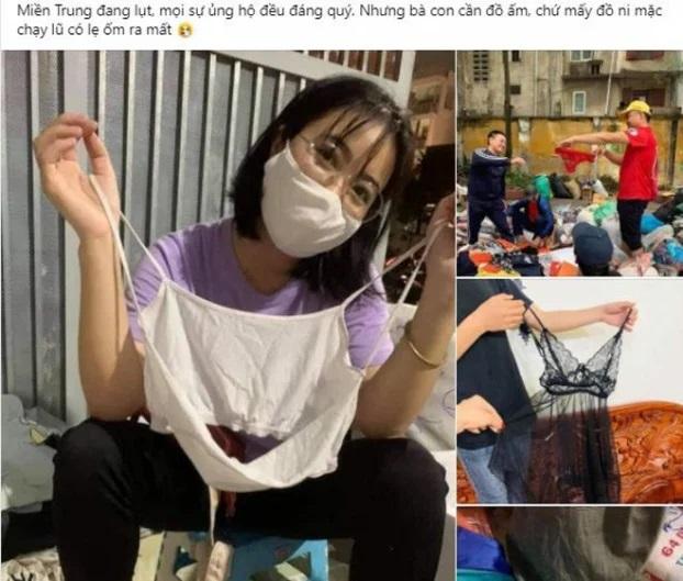 Loạt ảnh quần áo ủng hộ miền Trung gây tranh cãi, có cả áo hai dây, quần rách đũng - Ảnh 2