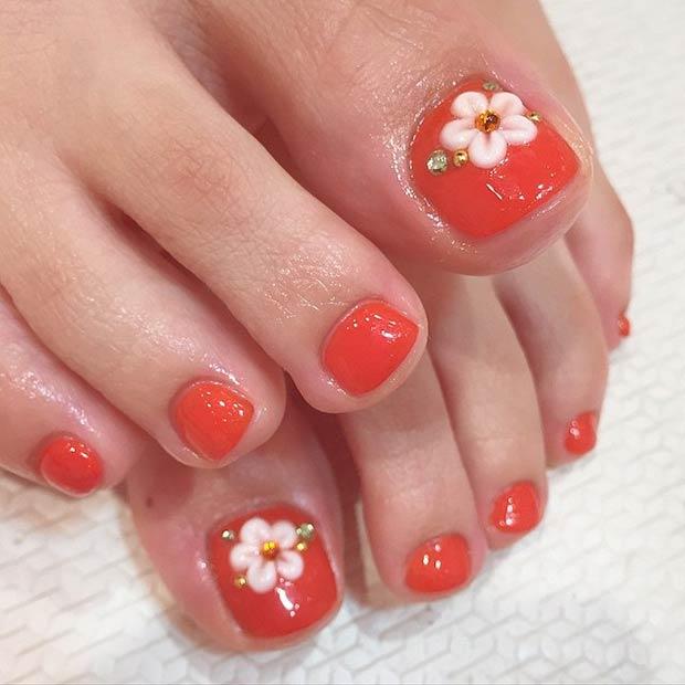 Thêm một mẫu vẽ móng chân hình hoa dễ thương cho các chị em tham khảo