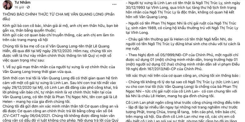 Biến căng: Bố mẹ Vân Quang Long tung bằng chứng khẳng định Linh Lan giả mạo nhân thân, không phải vợ cố nghệ sĩ - Ảnh 1