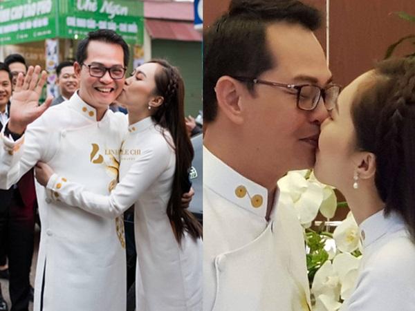 Ngắm loạt ảnh 'tình bể bình' của NSND Trung Hiếu và vợ kém 19 tuổi trong đám cưới