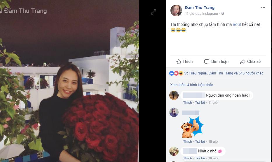 Đàm Thu Trang nhận bó hoa hồng khổng lồ vẫn lên tiếng trách móc Cường Đô la - Ảnh 1