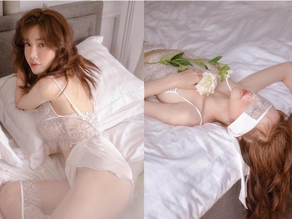 Nhức mắt với bộ ảnh khoe thân táo bạo của gái hai con Elly Trần trên giường ngủ