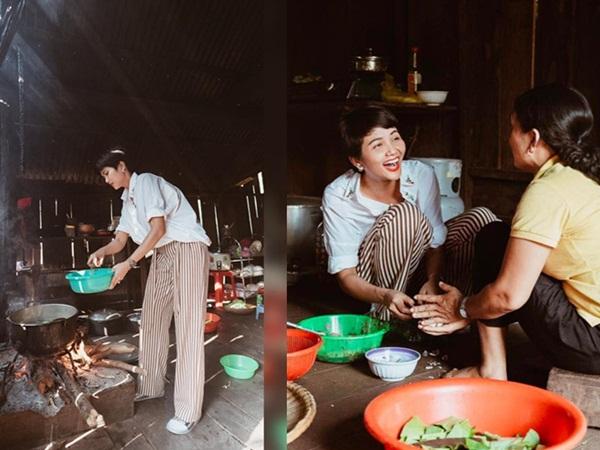 H'Hen Niê vào bếp nấu cơm, rửa bát cho mẹ khi về thăm nhà