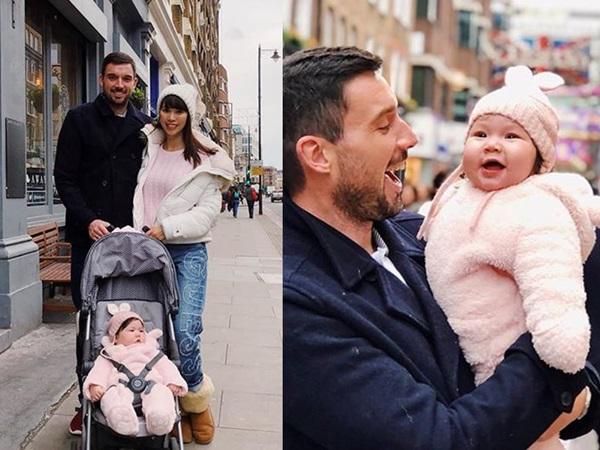 Hà Anh đưa con gái về Anh quốc đón Giáng sinh bên gia đình chồng Tây