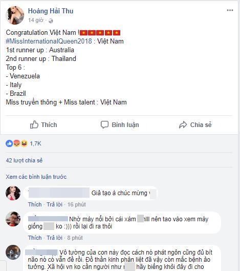 Hoàng Hải Thu 'ăn gạch đá' vì lên tiếng chúc mừng Hương Giang đăng quang Hoa hậu - Ảnh 3