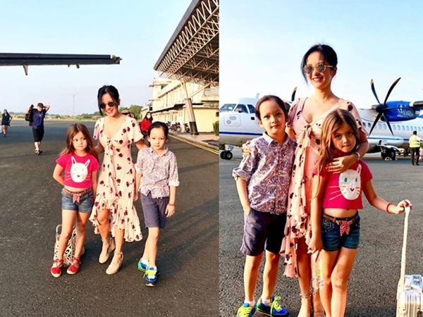 Sau ly hôn, Hồng Nhung cùng hai con đón giao thừa trên đất khách
