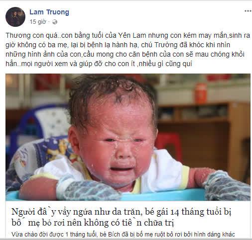 Thương rớt nước mắt, Lam Trường hứa giúp em bé mắc bệnh vảy nến da trăn hết sức có thể - Ảnh 1