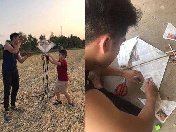 Chồng Lê Phương trổ tài làm diều giấy cho con trai Quách Ngọc Ngoan chơi đùa