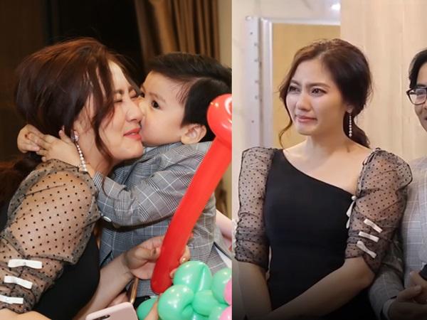 Ngọc Lan khóc nghẹn trong tiệc sinh nhật hai tuổi của con trai đầu lòng