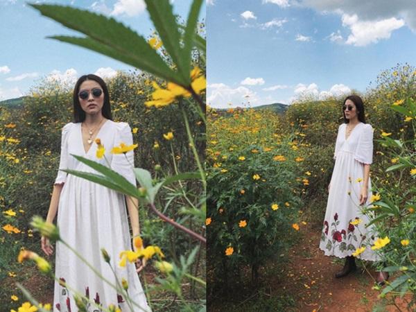 Tăng Thanh Hà 'đốn tim' fan với loạt ảnh đẹp như tranh vẽ giữa rừng hoa dã quỳ