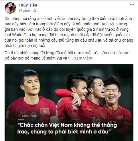 Thủy Tiên nổi giận, mắng 'kẻ bất nhân' chế giễu câu nói của Công Vinh: 'Chắc chắn Việt Nam không thể thắng Iraq' - Ảnh 1