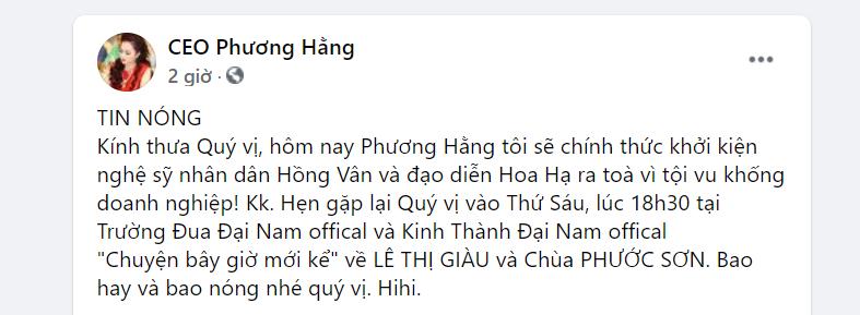 Nóng: Bà Nguyễn Phương Hằng tuyên bố đâm đơn khởi kiện NS Hồng Vân - Ảnh 1