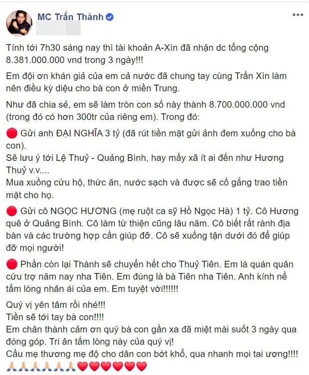 Nóng: Giữa đêm, Trấn Thành xin lỗi về 4,3 tỷ đồng tiền từ thiện 'không cánh mà bay' khỏi tài khoản Thủy Tiên - Ảnh 1