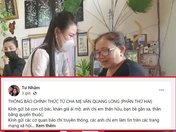 Sau 'bóc trần' nhân thân Linh Lan, bố mẹ Vân Quang Long thông tin 'rạch ròi' tiền phúng điếu, tiết lộ cuộc sống khó khăn, nợ nần của cố nghệ sĩ thời còn ở Mỹ