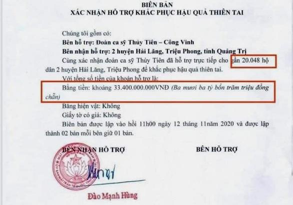 Diễn biến nóng chuyện Thủy Tiên cứu trợ bà con sau lũ, đại diện tỉnh Quảng Trị: 'Khó tổng hợp chính xác số tiền' - Ảnh 1