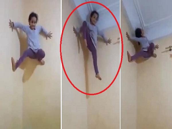 Cả nhà giật mình hoảng hốt khi thấy cô bé trèo tường dễ dàng như người nhện, cư dân mạng một phen choáng váng