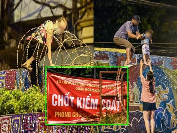 Nửa đêm, nhiều người dân Hà Nội luồn dây thép gai, trèo rào trốn khỏi khu phong tỏa: Người già, trẻ nhỏ có đủ