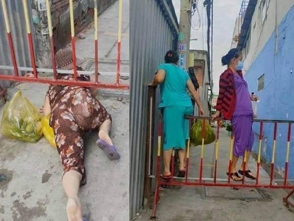 Xôn xao nhóm phụ nữ 'luồn lách' lén ra khỏi khu phong tỏa để đi chợ: Người 'bò ra đất', kẻ bất chấp trèo qua rào?