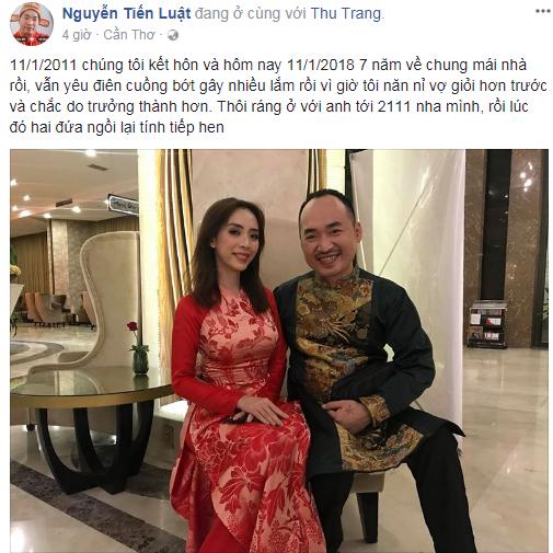 Kỷ niệm 7 năm ngày cưới, Tiến Luật khiến Thu Trang 'khóc ròng' vì hành động siêu ngọt ngào này - Ảnh 2