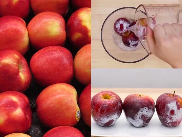 Cách phân biệt táo Trung Quốc ngâm hóa chất bảo quản: Hãy đổ nước nóng lên vỏ và quan sát
