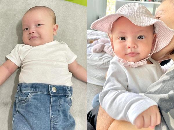 """Cặp sinh đôi tròn 4 tháng, Hồ Ngọc Hà khoe loạt ảnh """"cưng muốn xỉu"""""""