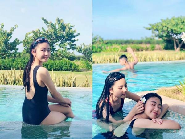 Con gái MC Quyền Linh diện bikini khoe vóc dáng thiếu nữ ở tuổi 14, xinh đẹp hết phần thiên hạ