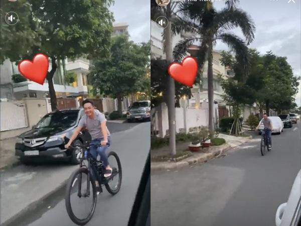 Để vợ bầu ngồi xế hộp sang chảnh, Cường Đô la đạp xe lẽo đẽo theo sau
