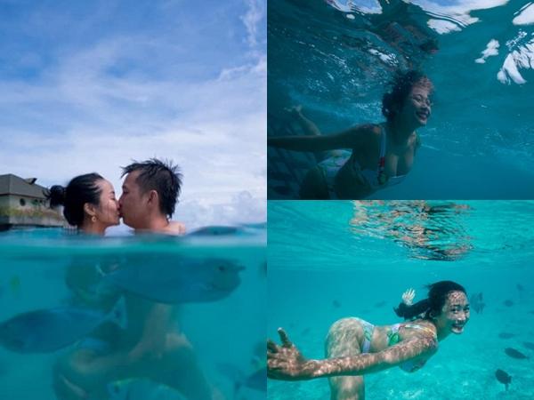 Diện bikini gợi cảm lặn biển, Ốc Thanh Vân khóa môi ông xã Trí Rùa cực ngọt khẳng định tình yêu hơn 20 năm