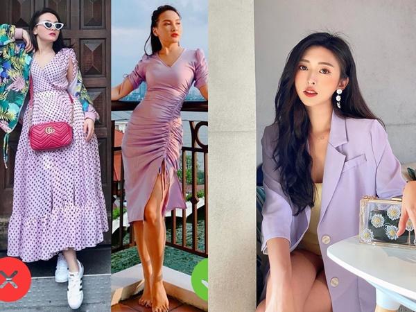 """""""Đu"""" trend diện đồ tím nhưng các chị em đừng mắc lỗi như Bảo Thanh nếu không muốn bị chê sến súa"""