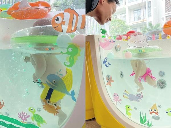 Hà Hồ tung clip Leon và Lisa tập bơi cực đáng yêu, dân mạng không ngừng 'thả tim'