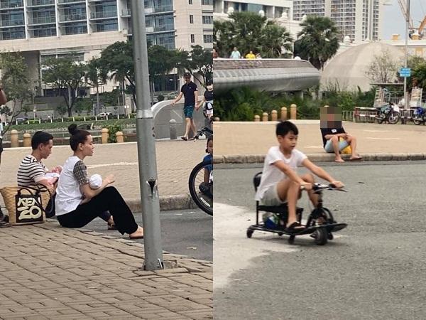 Hà Hồ và Kim Lý bế con ngồi bệt ở vỉa hè chờ Subeo, dân mạng lập tức soi ra dung mạo của cặp song sinh