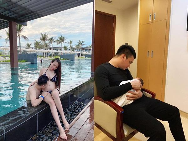 Hạnh phúc đón cặp sinh đôi trai gái, Khắc Việt lần đầu khoe ảnh ái nữ đầu lòng