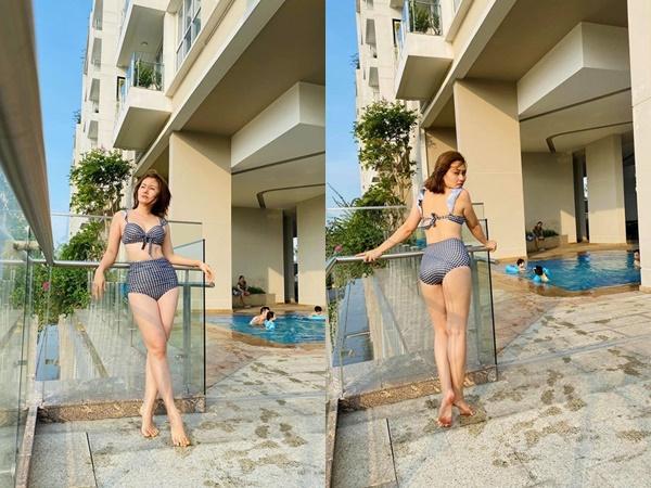 Hậu cách ly xã hội, Ngọc Lan than tăng cân nhưng sao diện bikini vẫn mướt mát thế này