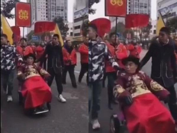 Lạ lùng chú rể 80 tuổi ngồi xe lăn đi rước dâu, nhìn mặt vợ trẻ mà choáng