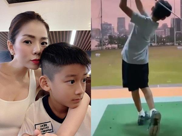 Mới 9 tuổi, con trai Lệ Quyên đã đánh golf cực chuyên nghiệp, ra dáng soái ca tương lai
