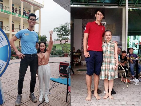 NS Việt Hương thành người tí hon khi đứng cạnh chàng trai cao nhất Việt Nam, biểu cảm ra sao mà dân tình cười ngất?