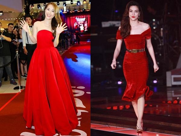 Sao Việt diện đầm nhung đỏ: Nhã Phương xinh như công chúa, Kỳ Duyên trông như khúc giò