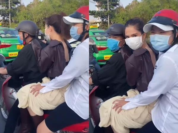 Sợ kẹt xe trễ làm, Ngọc Trinh liều lĩnh 'kẹp 3' trên đường, lại còn không đội mũ bảo hiểm khiến dân tình ngao ngán