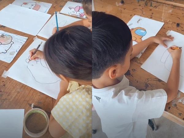 """Hà Tăng đưa gia đình hào môn đi học vẽ, kéo đến thành phẩm của Louis Nguyễn mà """"té ngửa"""""""