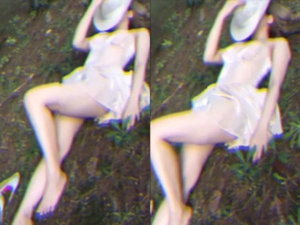 Thiếu nữ diện váy ngắn nằm ngủ trên cỏ khoe chân thon dài trắng muốt nhưng lại gây choáng khi lộ dung nhan