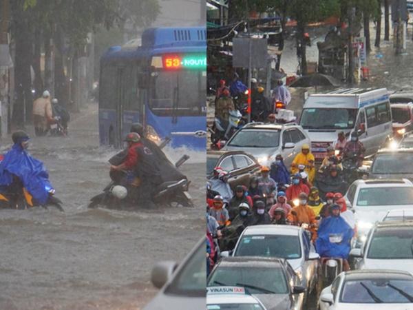 TP.HCM: Mưa mịt mù, người dân hoảng loạn vì ngập nước lút bánh xe, ùn tắc kéo dài tại ngã tư Hàng Xanh