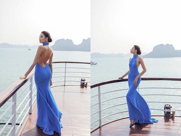Trước ngày dự thi Miss Universe 2019, Hoàng Thùy diện trang phục hở lưng táo bạo, khoe vòng 3 siêu gợi cảm