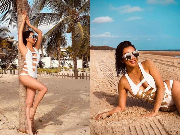 U60 Nguyễn Cao Kỳ Duyên diện bikini cắt xẻ táo bạo, o ép vòng 1 'nghẹt thở'